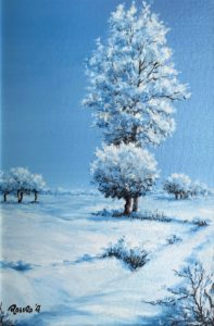 Nevicata sulla pianura carmagnolese - Olio su tela 20x30
