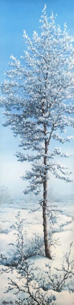 L'albero dopo la neve - Olio su tela 20x80 - Bordi dipinti