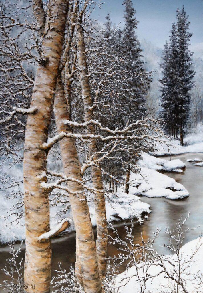 Nella valle in montagna dopo la neve - Olio su tela 50x70