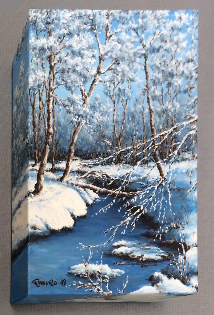 Neve e gelo sulla roggia - Olio su tela 20x30 Bordi dipinti - vista da sinistra