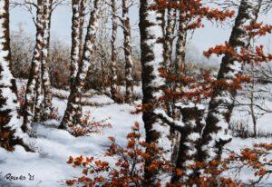 Neve nel faggeto - Olio su tela 50x35
