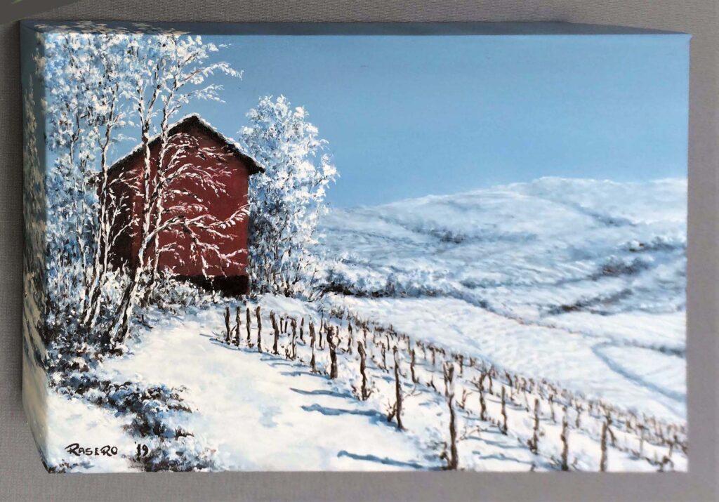 Nevicata nelle Langhe - Olio su tela 35x25 Bordi dipinti - vista da sinistra