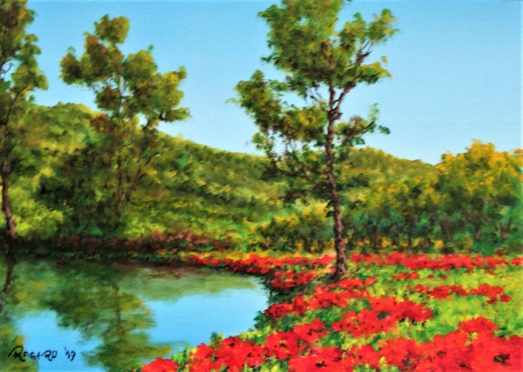 Papaveri accanto al laghetto - Olio su tela 18x24