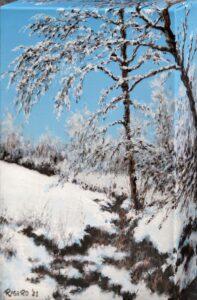 Piccola nevicata - Olio su tela 18x24 bordi di 4 cm interamente dipinti - vista da destra