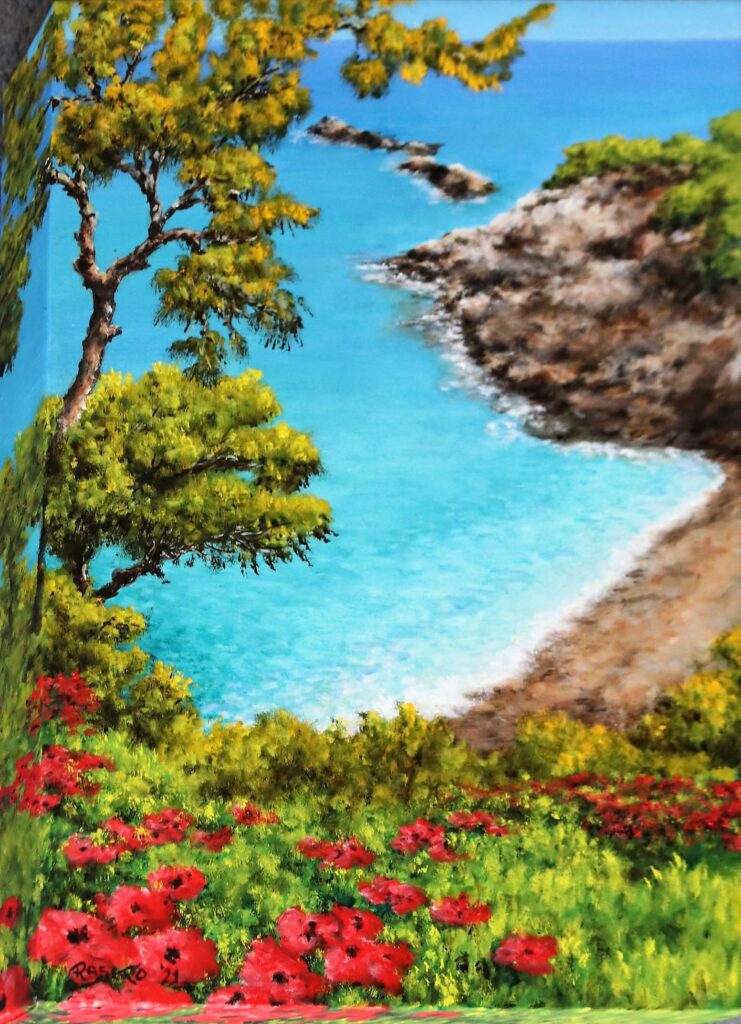 Spiaggetta di Bergeggi - Olio su tela 25x35 bordi dipinti di cm 4 - Vista da destra