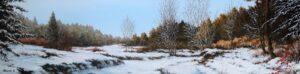 Ultimo sole dopo la nevicata - Olio su tela 120x30